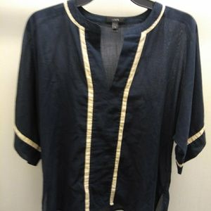 J.crew navy short sleeve sheer blouse